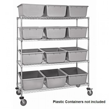 Chrome Wire Shelf Cart with Wire Shelves