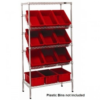 Chrome Wire Shelf Unit with Slant Shelves