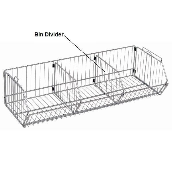 Chrome Wire Shelf Bin Divider - Shelving Direct