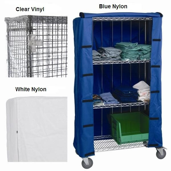 Mobile Shelving Covers : Chrome wire shelf cart covers shelving direct