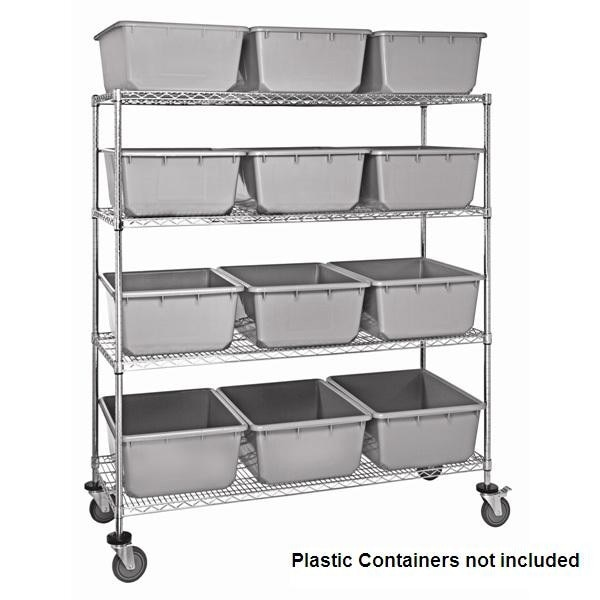 Chrome Wire Shelf Cart with Wire Shelves - Shelving Direct