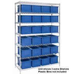 Chrome Wire Shelving Add-on Unit with Wire Shelves