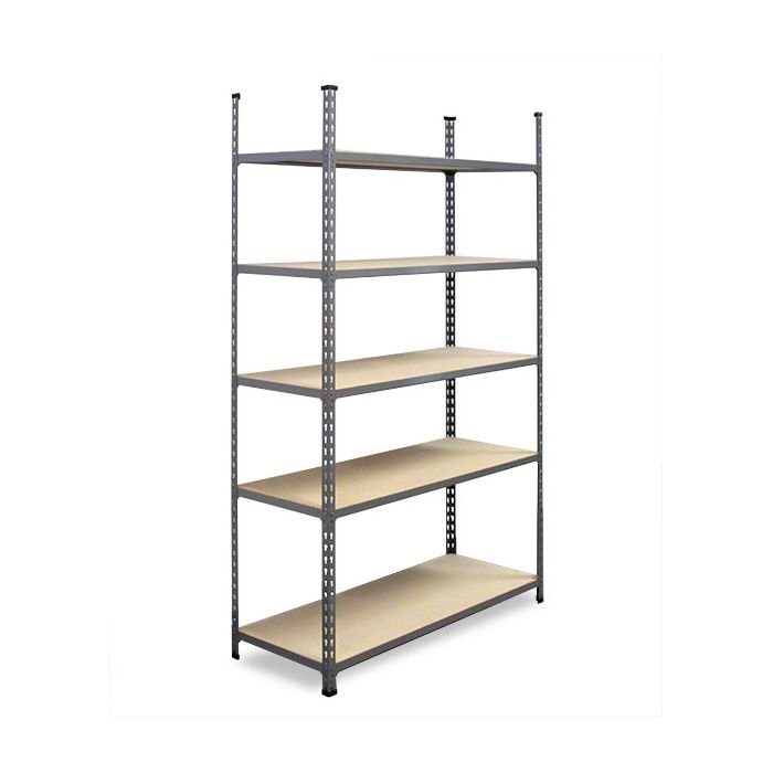 METAL POINT®2 Steel Shelving Unit with particle board shelves color gray