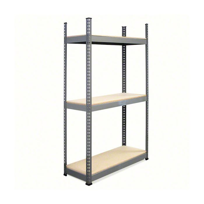 METAL POINT®PLUS Steel Shelving Unit with particle board Shelves color gray
